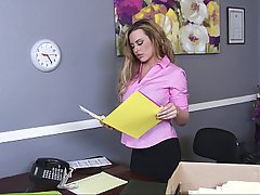 Office, Stockings, Lingerie, Blonde